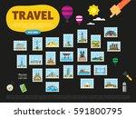 travel the world. monument... | Shutterstock . vector #591800795