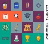 back to school raster icon set. ... | Shutterstock . vector #591801995