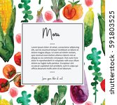menu card design with... | Shutterstock . vector #591803525