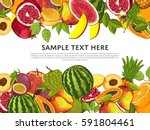 fruit mix with leaves on wite... | Shutterstock . vector #591804461
