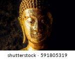 Thai Golden Buddha Face Statue...