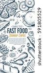 fast food vertical banner.... | Shutterstock . vector #591805529