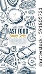 fast food vertical banner.... | Shutterstock . vector #591805721