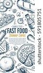 fast food vertical banner.... | Shutterstock . vector #591805751
