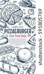 fast food vertical banner.... | Shutterstock . vector #591805769