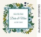 cute wedding invitation... | Shutterstock . vector #591805985