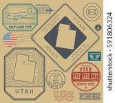 retro vintage postage stamps... | Shutterstock .eps vector #591806324
