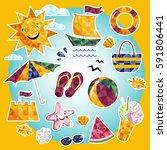 summer time raster background... | Shutterstock . vector #591806441