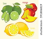 set of fruit mix raster... | Shutterstock . vector #591806819