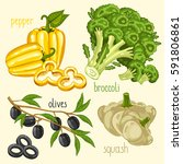 set of vegetables mix raster... | Shutterstock . vector #591806861