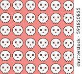 cute skull pattern in pink... | Shutterstock .eps vector #591820835