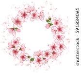 blossom wreath  round vector... | Shutterstock .eps vector #591834065