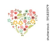 cute and romantic floral wreath ... | Shutterstock .eps vector #591835979
