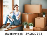 girl sitting on windowsill at... | Shutterstock . vector #591837995