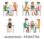 set of vector illustration on... | Shutterstock .eps vector #591847781