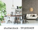 multifunctional loft with open... | Shutterstock . vector #591850409