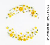 Stock photo flowers composition wreath made of various yellow flowers on white background easter spring 591854711