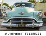 Small photo of Leland, Michigan, August 8, 2016: 1952 Oldsmobile 88. Front view
