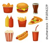 set fast food icon. cup cola ... | Shutterstock .eps vector #591856229