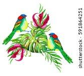 tropical flowers.watercolor... | Shutterstock . vector #591864251