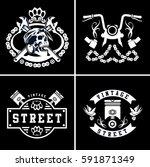 vector vintage biker club logos ... | Shutterstock .eps vector #591871349