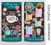 coffee shop menu template  cafe ... | Shutterstock .eps vector #591871421
