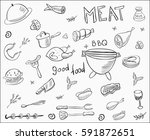 vector meat doodle collection | Shutterstock .eps vector #591872651