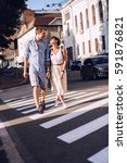 lovely couple dating in city at ...   Shutterstock . vector #591876821