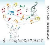 tornado destroys a musical notes | Shutterstock .eps vector #59187721