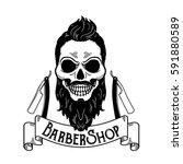 vector barbershop emblem ... | Shutterstock .eps vector #591880589