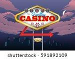 illustration of a casino night... | Shutterstock .eps vector #591892109