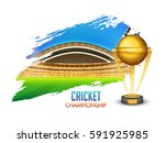 glowing golden trophy and... | Shutterstock .eps vector #591925985