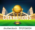 golden winning trophy shining... | Shutterstock .eps vector #591926024
