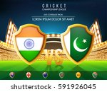 cricket match participating... | Shutterstock .eps vector #591926045
