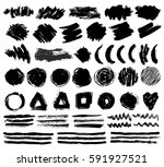 set of hand drawn ink brush... | Shutterstock .eps vector #591927521