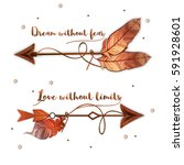 set of ethnic boho arrows with... | Shutterstock .eps vector #591928601