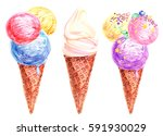 set of watercolor ice cream... | Shutterstock . vector #591930029