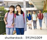 asian elementary school girls... | Shutterstock . vector #591941009