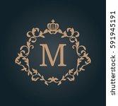 elegant floral monogram design... | Shutterstock . vector #591945191