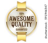 white awesome quality badge  ... | Shutterstock .eps vector #591946547