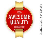 red awesome quality badge  ... | Shutterstock .eps vector #591946595