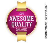 purple awesome quality badge  ... | Shutterstock .eps vector #591946607
