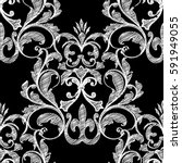 embroidery style floral damask... | Shutterstock .eps vector #591949055