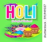 holi festival poster. template...   Shutterstock .eps vector #591949337