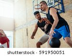 portrait of two basketball... | Shutterstock . vector #591950051