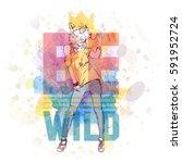 hipster style poster. hand...   Shutterstock .eps vector #591952724