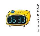 digital alarm clock vector... | Shutterstock .eps vector #591953645