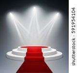 empty illuminated round podium... | Shutterstock . vector #591954104