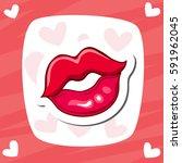 lips kiss. vector patch ... | Shutterstock .eps vector #591962045