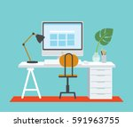 desk with computer at home... | Shutterstock .eps vector #591963755
